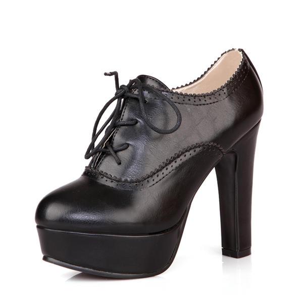 55bce88a71 Női PU Chunky sarok Magassarkú Emelvény Csizma -Val Lace-up cipő ...