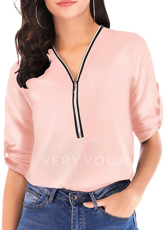 Solid V Neck 1/2 Sleeves Casual Blouses