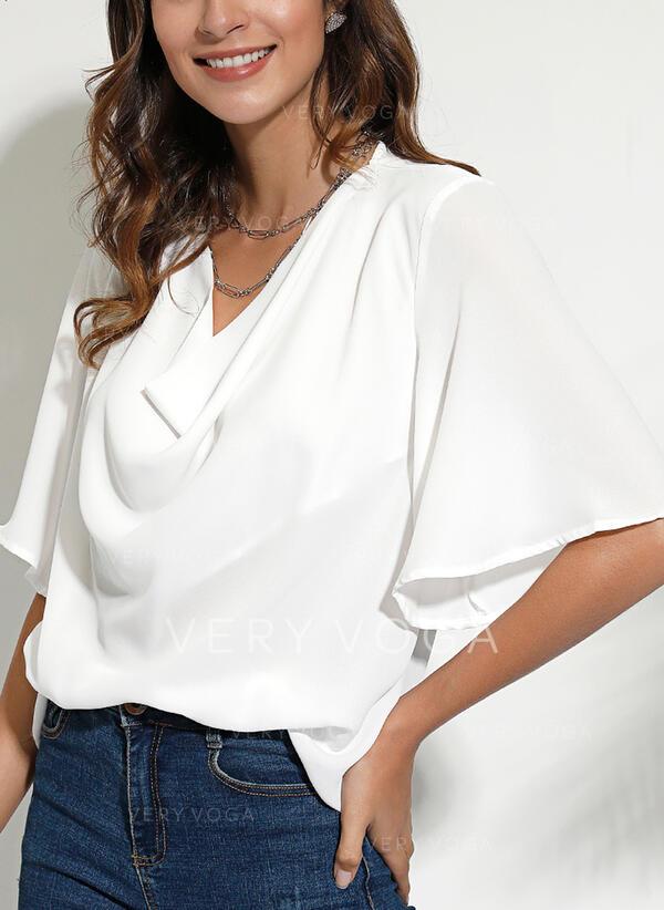 Jednolity Dekolt w kształcie litery V Rękaw 1/2 Casual Elegancki Bluzki