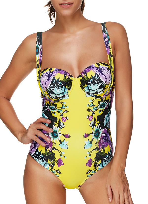 61ed9f3670e Floral Strap Sexy Plus Size One-piece Swimsuits (202228694 ...