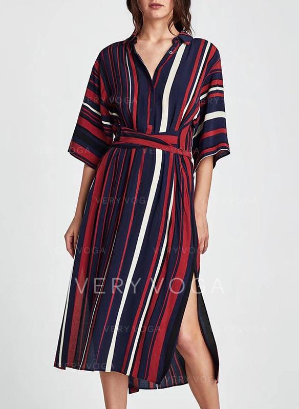Ριγέ Κολάρο πουκάμισα Midi Φόρεμα αλλαγής (199240854) - φορέματα ... c662c2260c9