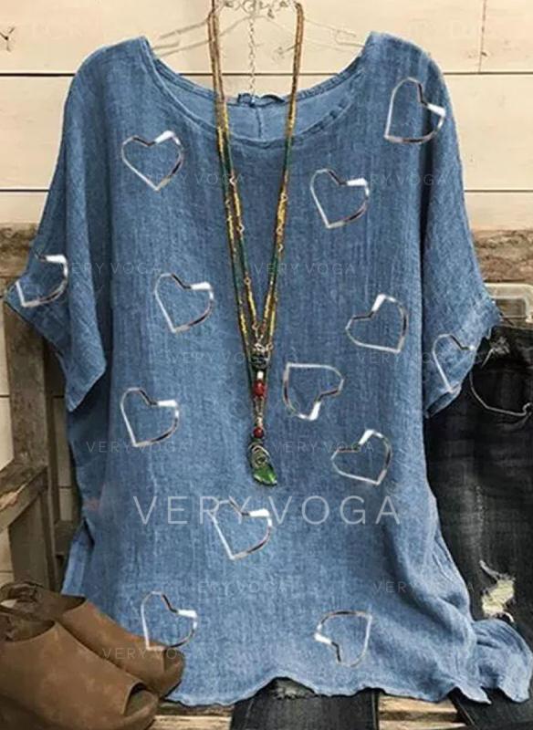 Heart Print Round Neck Short Sleeves T-shirts