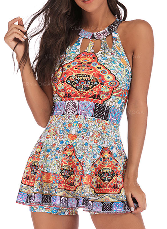 Print Hollow Out Round Neck Eye-catching Retro Amazing Swimdresses Swimsuits