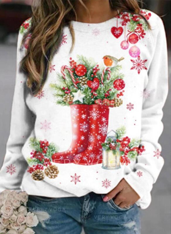 Wydrukować Καρδιά Στρογγυλός λαιμός Μακρυμάνικο Świąteczna bluza