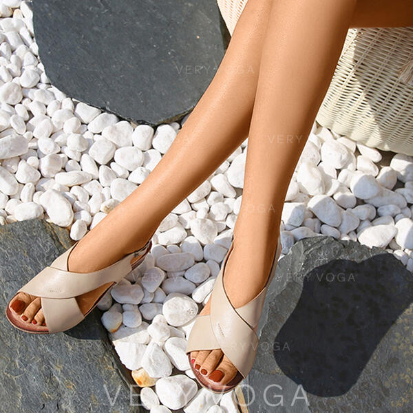 Women's PU Wedge Heel Sandals Peep Toe Slippers With Bandage Crisscross shoes