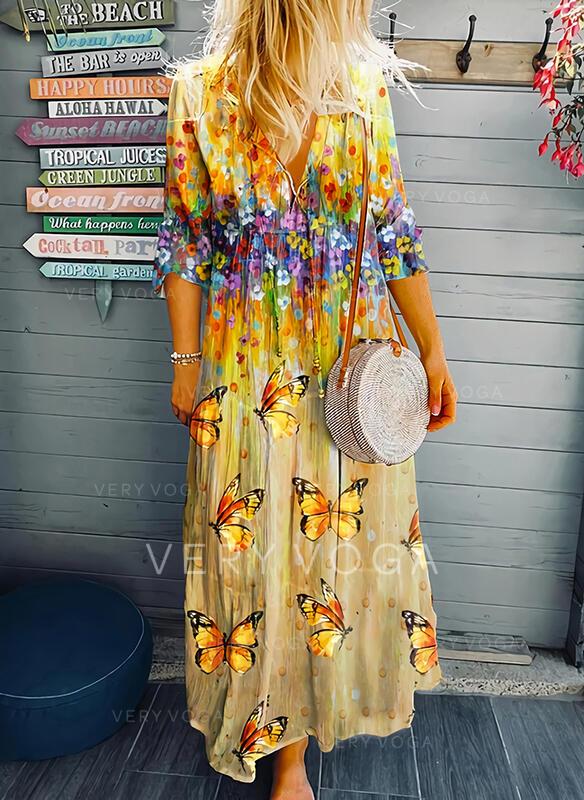 Floral/Animal Print Long Sleeves Shift Casual/Vacation Maxi Dresses
