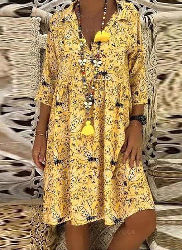 Print/Floral 1/2 Sleeves Shift Knee Length Casual/Boho/Vacation Dresses