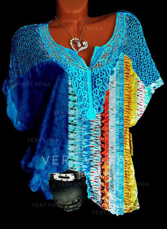 Εκτύπωση Δαντέλα V-λαιμός Κοντά Μανίκια Καθημερινό Блузи