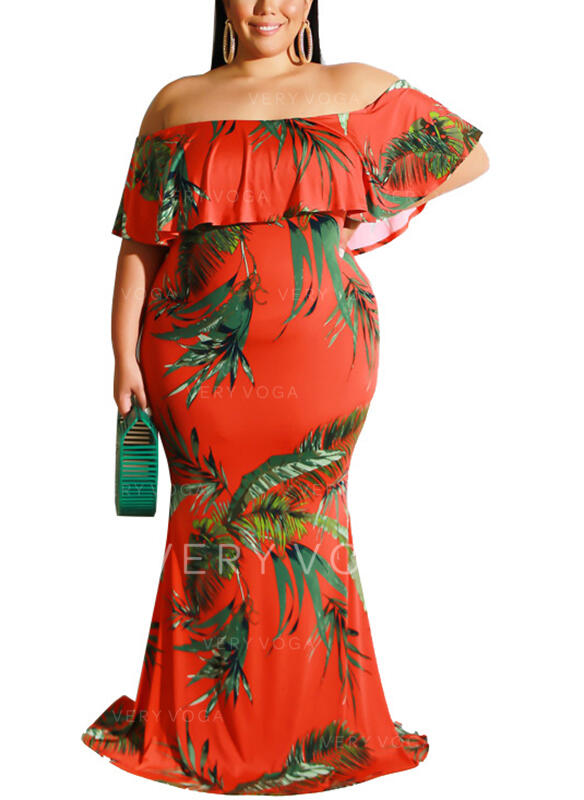 Print 1/2 Sleeves Sheath Casual/Vacation/Plus Size Maxi Dresses