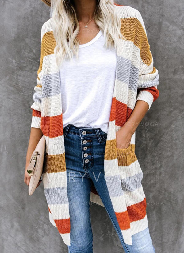 Color Block Pocket Casual Long Cardigan