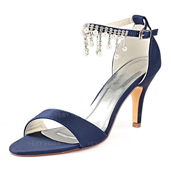 14feda0b2c0 Women s Silk Like Satin Stiletto Heel Peep Toe Pumps With Crystal Pearl