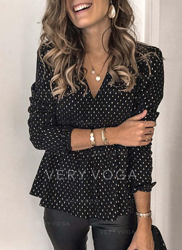 PolkaDot V-Neck Puff Sleeves Long Sleeves Button Up Casual Elegant Blouses