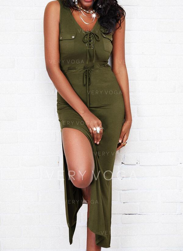 Solid/Lace-up Sleeveless Sheath Casual Maxi Dresses