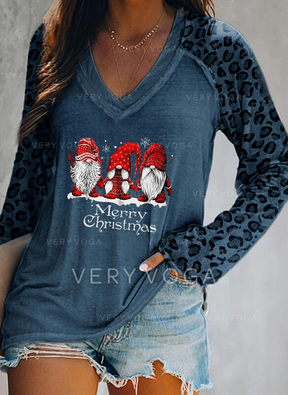 Leopardo Figura Cuello en V Manga Larga Casual Navidad Camisetas