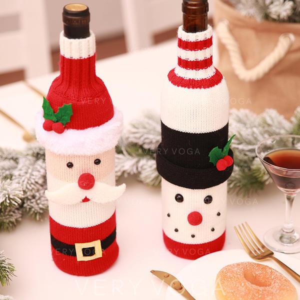 vrolijk kerstfeest Sneeuwman de kerstman Gebreid Flessenhoes