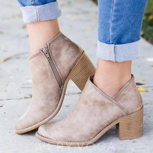 Kvinder Ruskind Stor Hæl sandaler Pumps med Lynlås sko