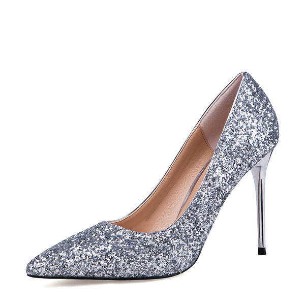 Mulheres Espumante Glitter Salto agulha Bombas Fechados sapatos