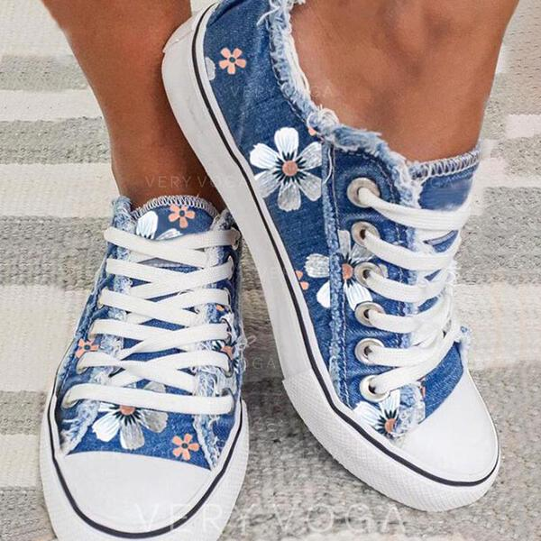 Women's Canvas Flat Heel Flats Low Top With Lace-up Flower Print shoes