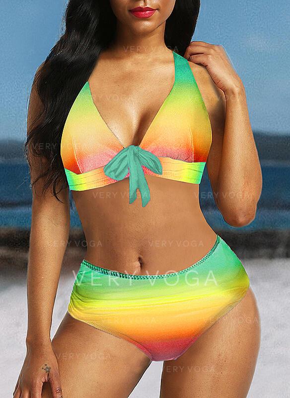 Splice color Strap Boho Bikinis Swimsuits