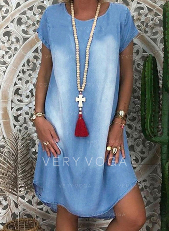 Solid Short Sleeves Shift Knee Length Casual/Denim Tunic Dresses