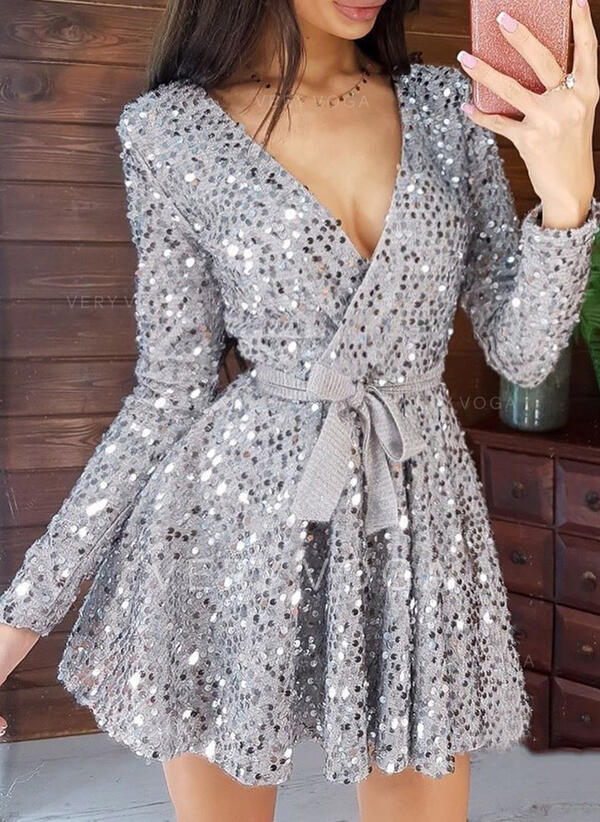 Sequins/Solid Long Sleeves A-line Above Knee Party Wrap/Skater Dresses (199323332)