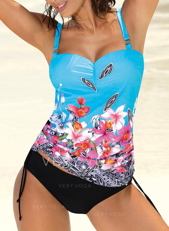 Floral Push Up Strap Vintage Colorful Tankinis Swimsuits