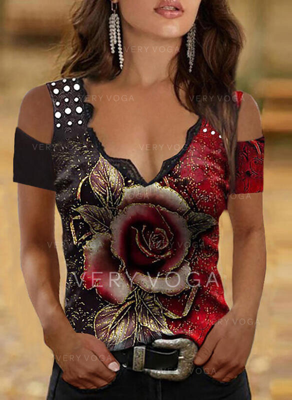 Nadruk Kwiatowy Koronka Zimne ramię Krótkie rękawy Nieformalny Bluzki