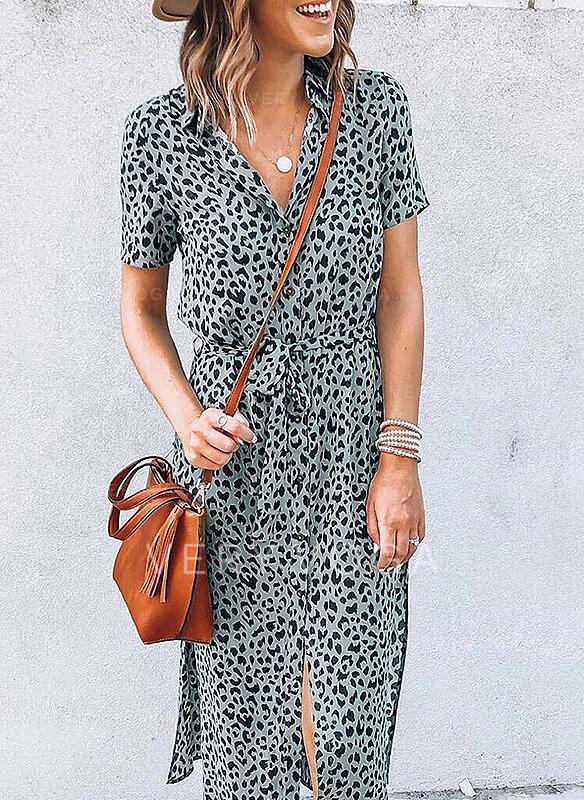 леопард Κοντά Μανίκια Μεσάτο Καθημερινό Μίντι Сукні