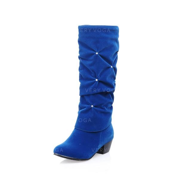 Femmes Similicuir Talon bas Bout fermé Bottes mi-mollets avec Strass chaussures