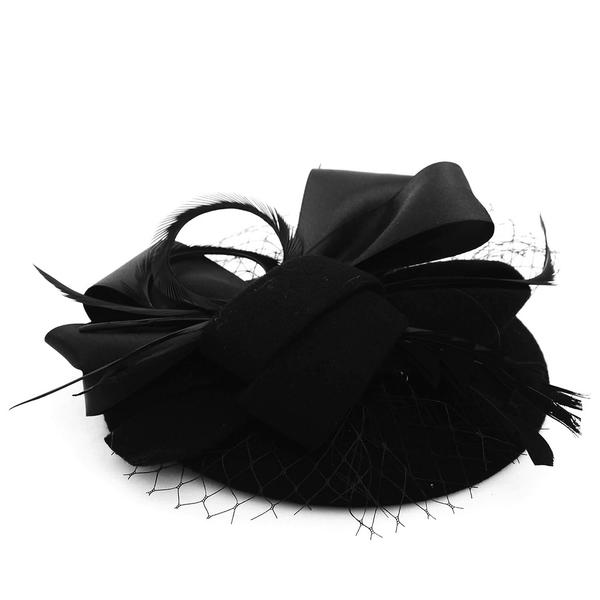 Dames Élégante Coton/Tulle avec Feather Béret Chapeau/Chapeaux Tea Party
