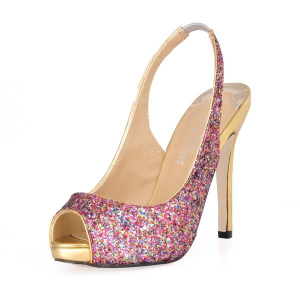 9f6c2a81bd2f Women's Sparkling Glitter Stiletto Heel Peep Toe Sandals Slingbacks With  Sequin
