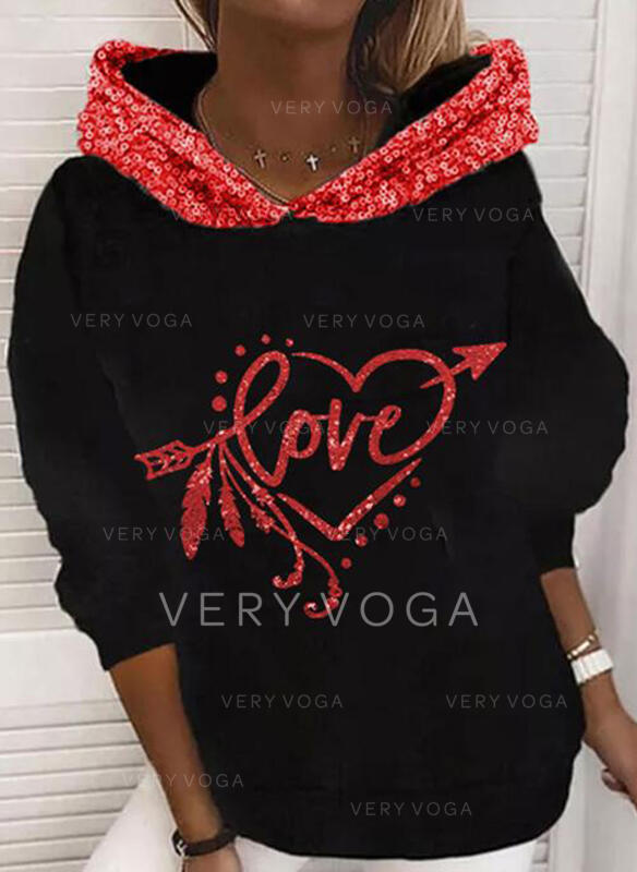Sequins Figure Heart Long Sleeves Hoodie