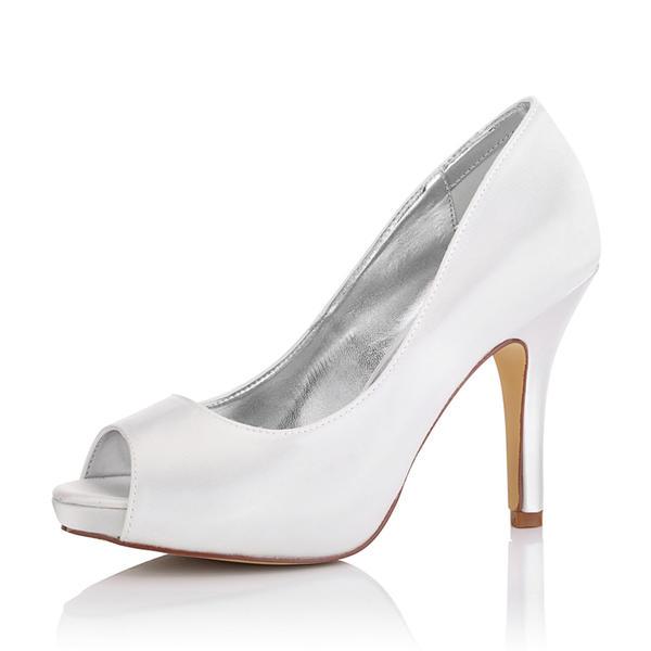 Frauen Satin Stöckel Absatz Peep Toe Sandalen Färbbare Schuhe