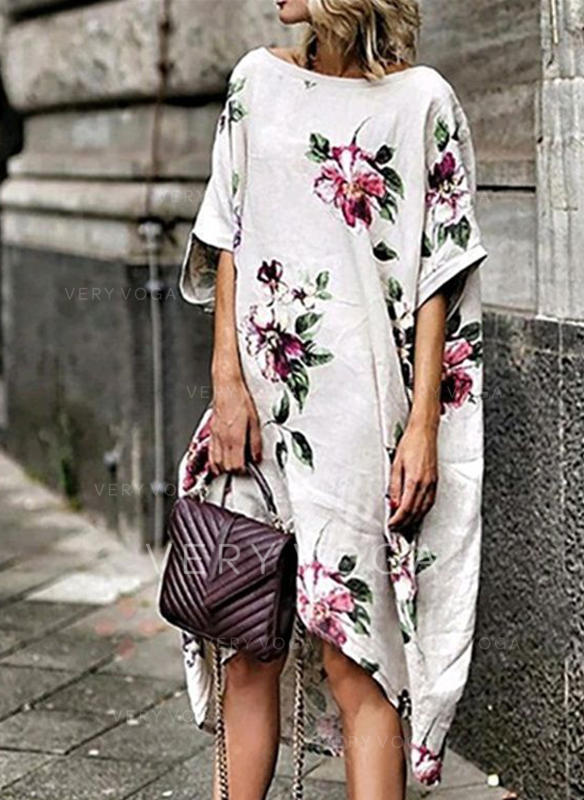 Print/Floral 1/2 Sleeves Shift Asymmetrical Casual Dresses
