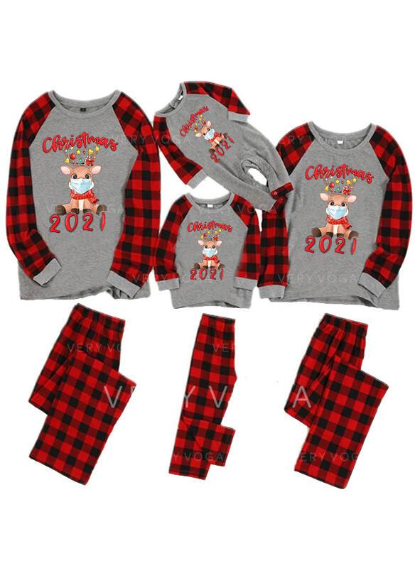 Renifer Kratę List Rodzinne Dopasowanie Świąteczne piżamy