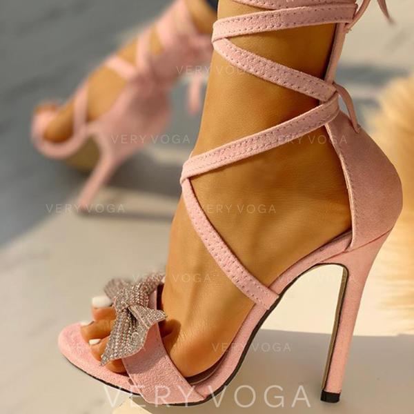 Mulheres PU Salto agulha Sandálias Peep toe com Bowknot Aplicação de renda sapatos