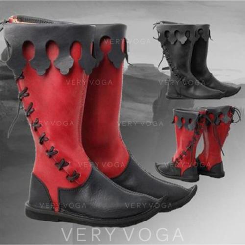 Frauen PU Flascher Absatz Stiefel mit Zuschnüren Schuhe