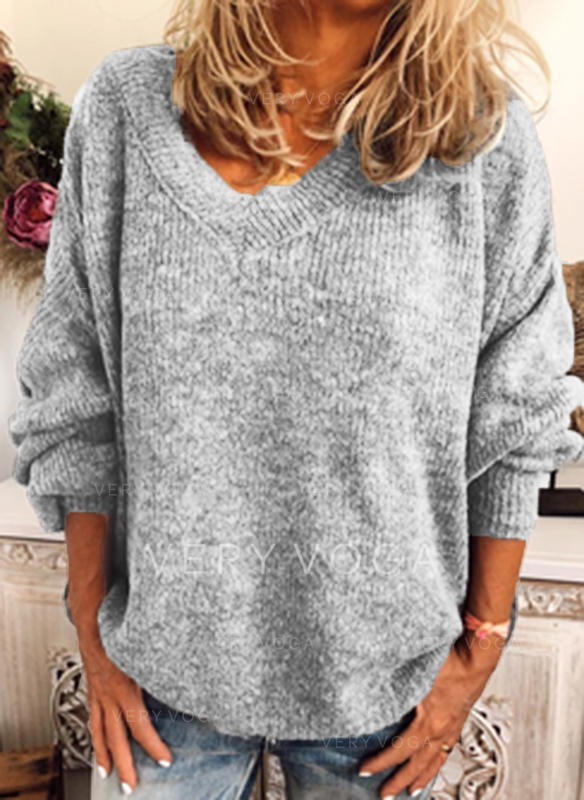 Solid Cable-knit Chunky knit V-Neck Sweaters