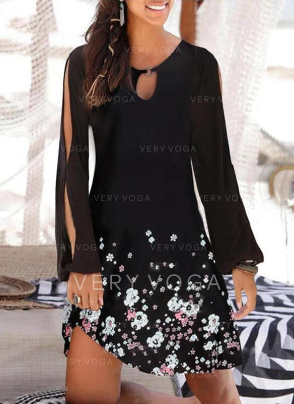 Print/Floral Long Sleeves/Cold Shoulder Sleeve Shift Above Knee Casual Tunic Dresses