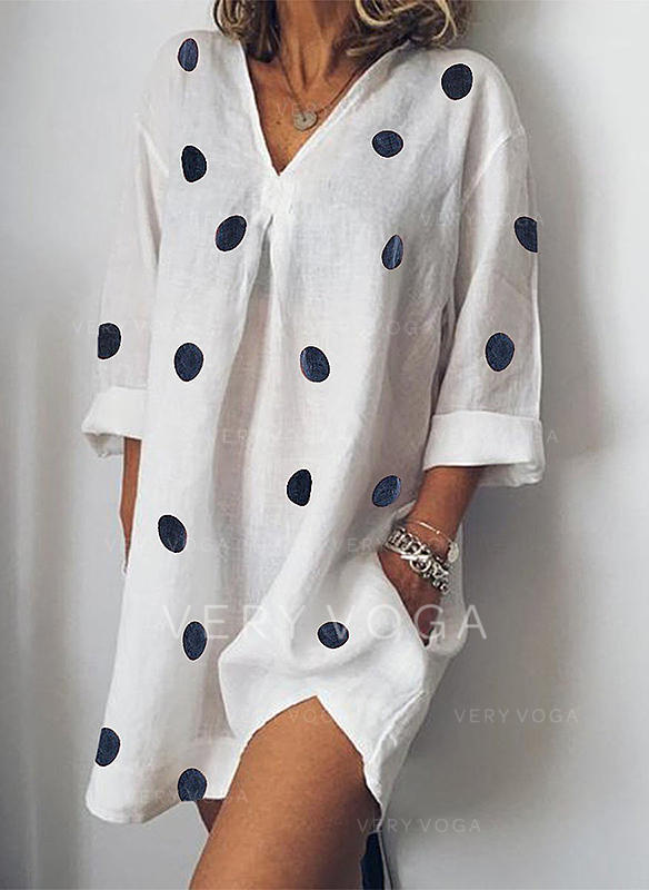 PolkaDot Long Sleeves Shift Above Knee Casual Dresses