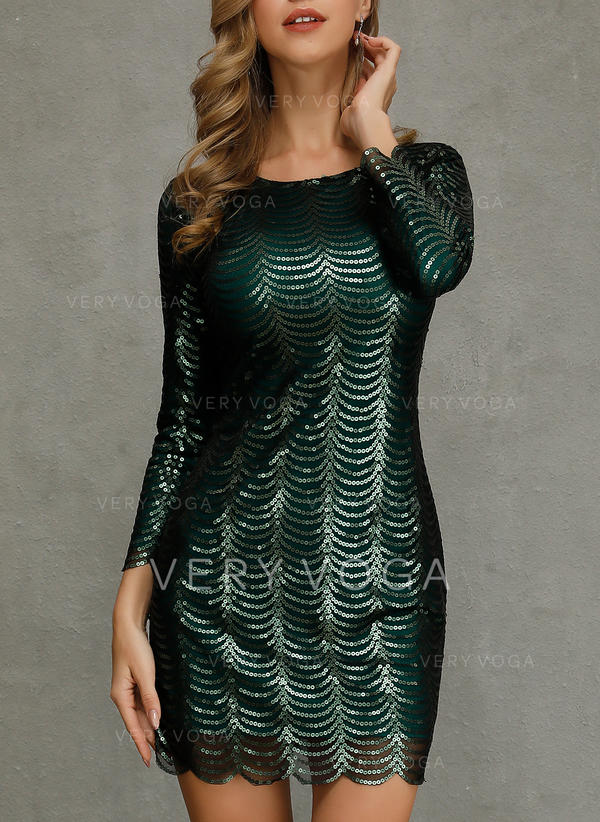 Sequins 3/4 Sleeves Sheath Above Knee Party Dresses