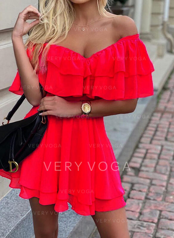 Solid Short Sleeves A-line Above Knee Party Dresses
