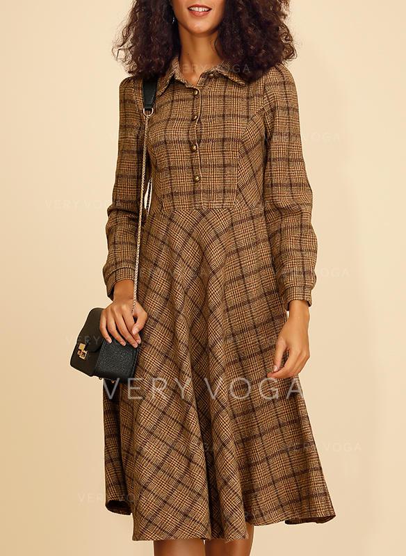 Plaid Long Sleeves A-line Knee Length Casual/Elegant Dresses