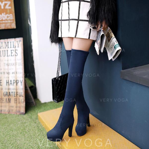 Pentru Femei Piele de Căprioară Toc gros Încălţăminte cu Toc Înalt Platformă Cizme Gizme Peste Genunchi pantofi