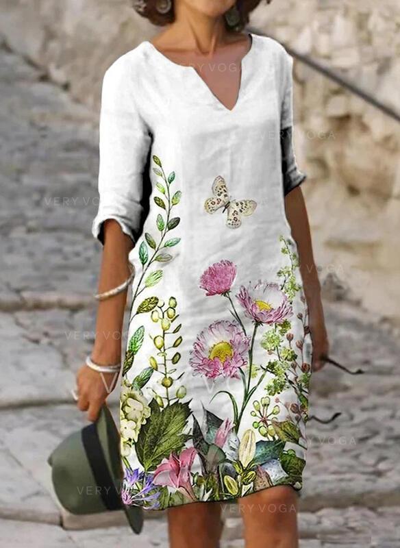 Blomstrete/Dyreprint 1/2-ermer Kvinnedrakt Knelengde Casual Tunika Kjoler
