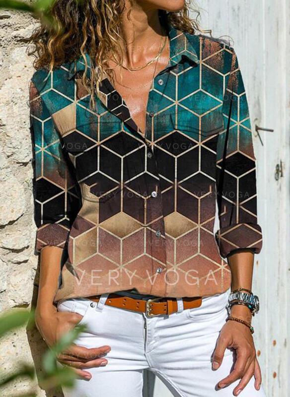Geometrica Risvolto Maniche lunghe Casuale Shirt and Blouses