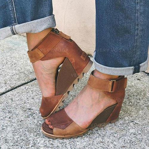 Жіночі ПУ Танкетка Сандалі взуття на короткій шпильці з Блискавка взуття