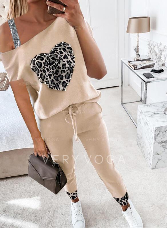 λεοπάρδαλη Καρδιά Πούλιες Ανέμελος Plus μέγεθος Σύρσιμο Pearl Ρούχα Δύο Κομματιών