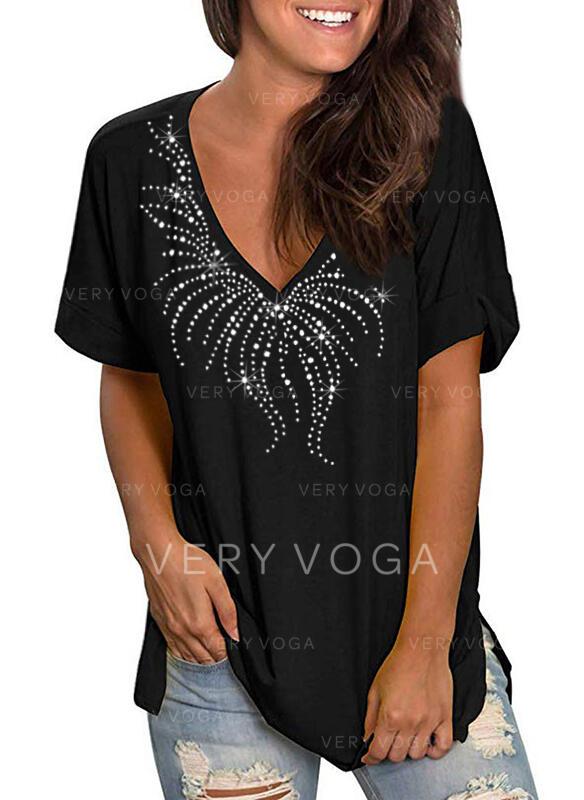 Pailletten V-Ausschnitt Kurze Ärmel Freizeit T-shirts