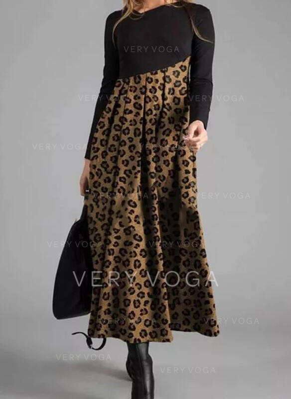 Leopard Long Sleeves A-line Skater Casual Maxi Dresses